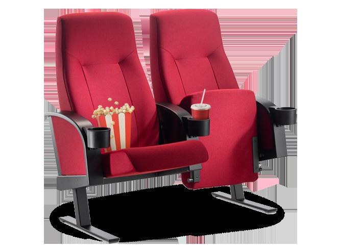 Dvi kino teatro kėdės su spragėsiais ir gėrimu
