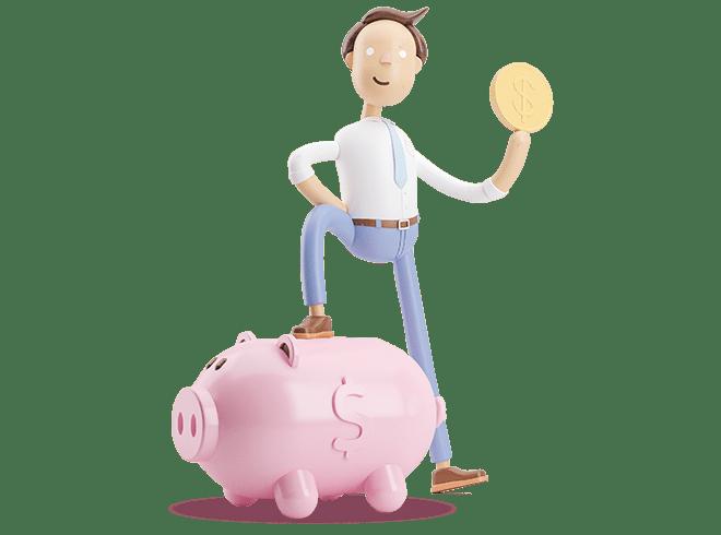 Vyras su moneta rankoje padėjęs koją ant kiaulės taupyklės